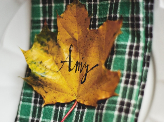 Calligraphy Leaf Name Card